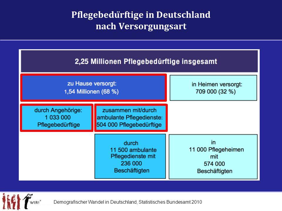 Pflegebedürftige in Deutschland nach Versorgungsart Demografischer Wandel in Deutschland, Statistisches Bundesamt 2010