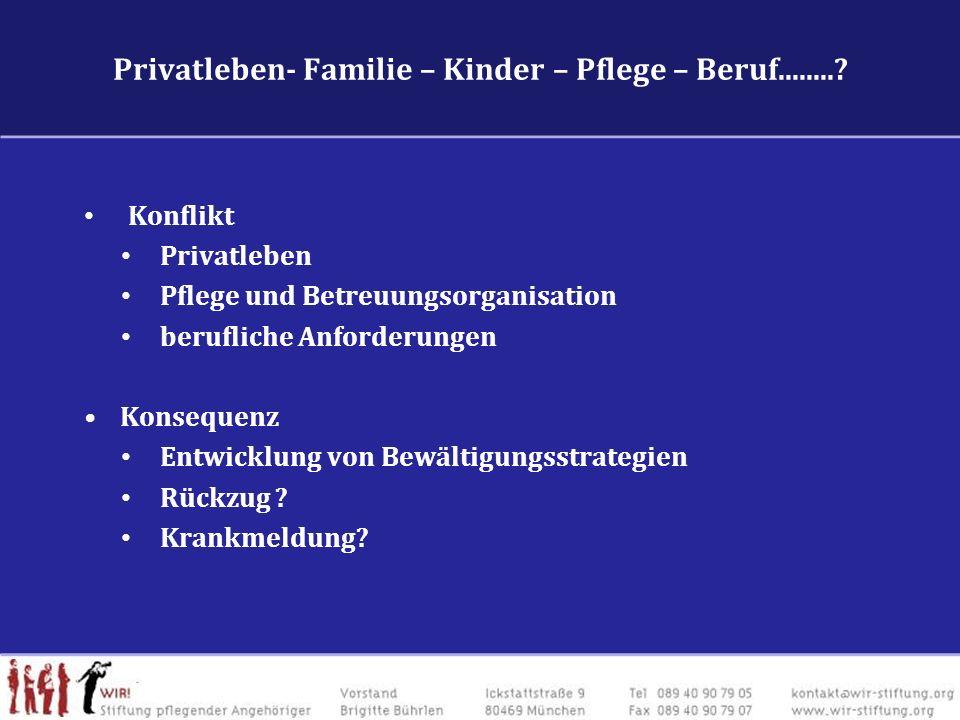 Privatleben- Familie – Kinder – Pflege – Beruf........? Konflikt Privatleben Pflege und Betreuungsorganisation berufliche Anforderungen Konsequenz Ent