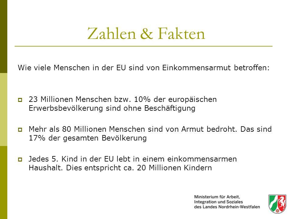 Zahlen & Fakten Wie viele Menschen in der EU sind von Einkommensarmut betroffen: 23 Millionen Menschen bzw. 10% der europäischen Erwerbsbevölkerung si