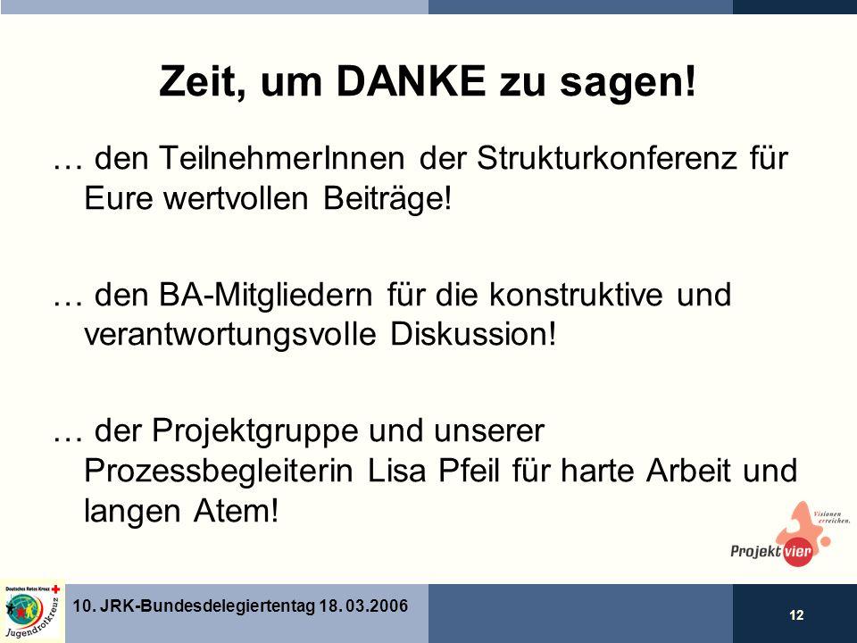 12 10. JRK-Bundesdelegiertentag 18. 03.2006 Zeit, um DANKE zu sagen.