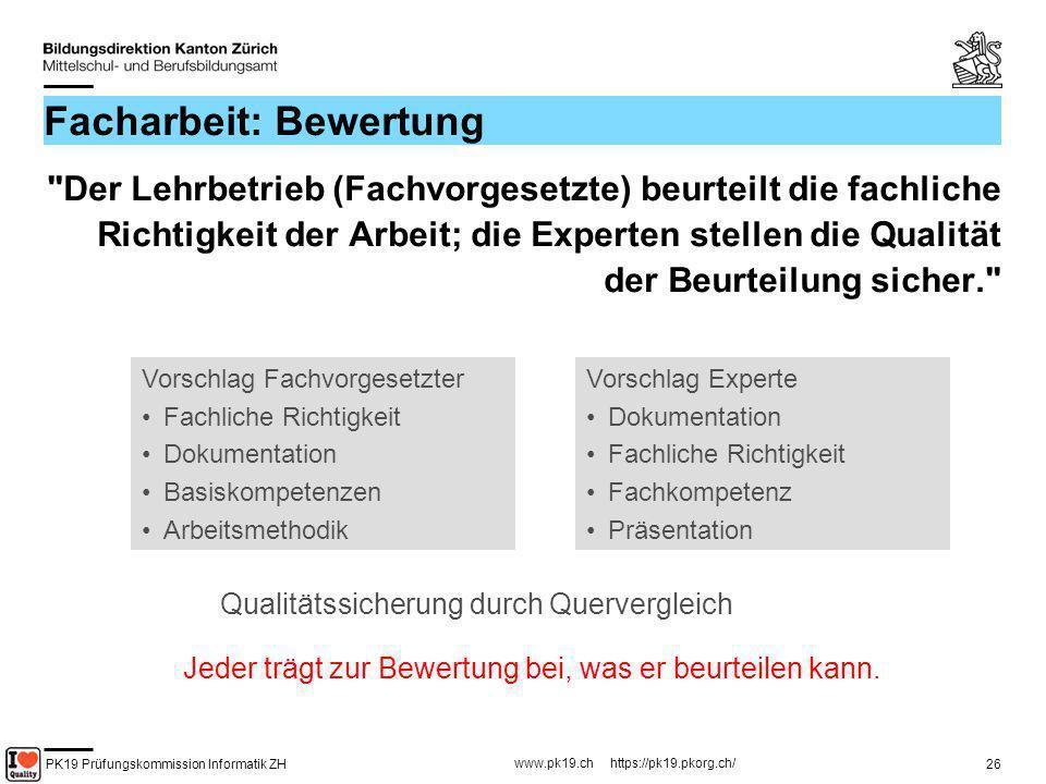 PK19 Prüfungskommission Informatik ZH www.pk19.ch https://pk19.pkorg.ch/ 26 Facharbeit: Bewertung