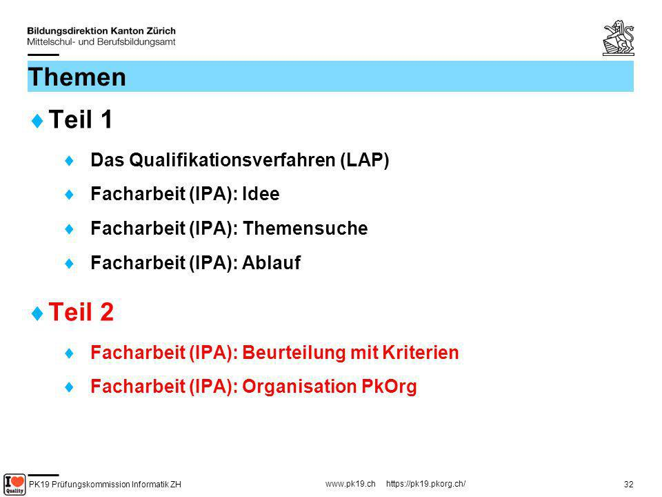 PK19 Prüfungskommission Informatik ZH www.pk19.ch https://pk19.pkorg.ch/ 32 Themen Teil 1 Das Qualifikationsverfahren (LAP) Facharbeit (IPA): Idee Fac
