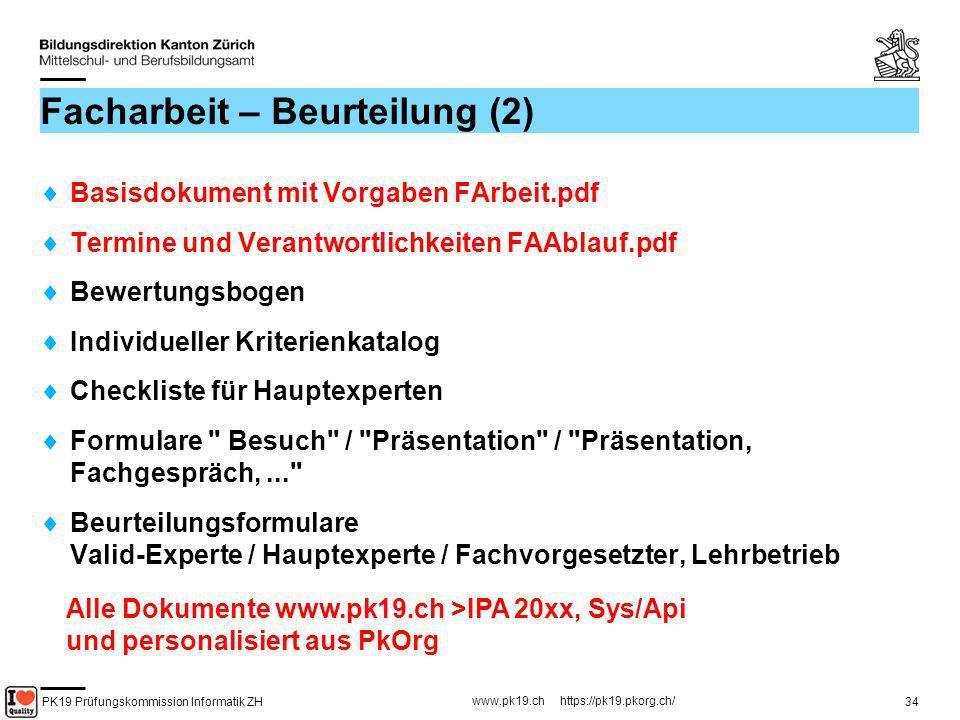 PK19 Prüfungskommission Informatik ZH www.pk19.ch https://pk19.pkorg.ch/ 34 Facharbeit – Beurteilung (2) Basisdokument mit Vorgaben FArbeit.pdf Termin