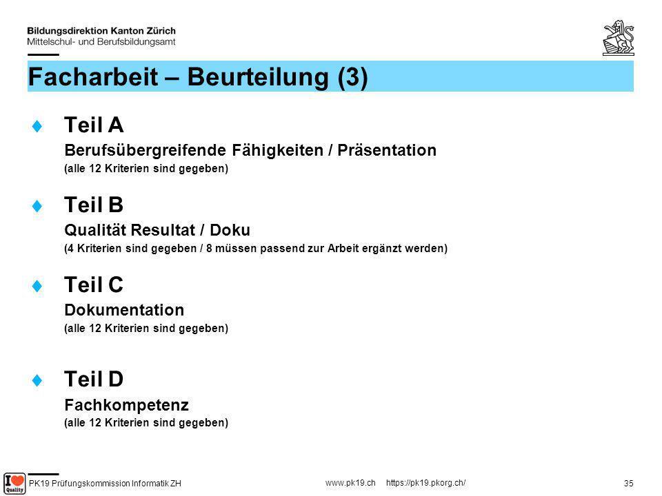 PK19 Prüfungskommission Informatik ZH www.pk19.ch https://pk19.pkorg.ch/ 35 Facharbeit – Beurteilung (3) Teil A Berufsübergreifende Fähigkeiten / Präs
