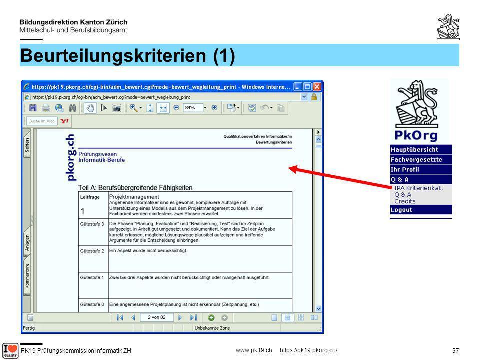 PK19 Prüfungskommission Informatik ZH www.pk19.ch https://pk19.pkorg.ch/ 37 Beurteilungskriterien (1)