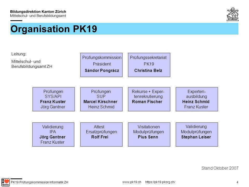 PK19 Prüfungskommission Informatik ZH www.pk19.ch https://pk19.pkorg.ch/ 4 Organisation PK19 Stand Oktober 2007 Leitung: Mittelschul- und Berufsbildun