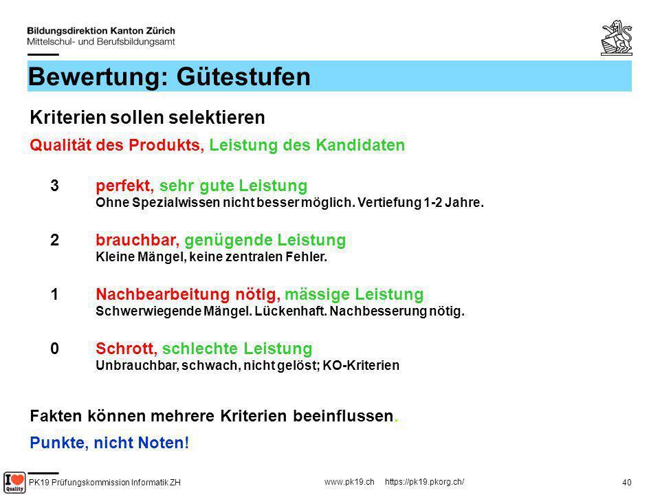 PK19 Prüfungskommission Informatik ZH www.pk19.ch https://pk19.pkorg.ch/ 40 Bewertung: Gütestufen Kriterien sollen selektieren Qualität des Produkts,