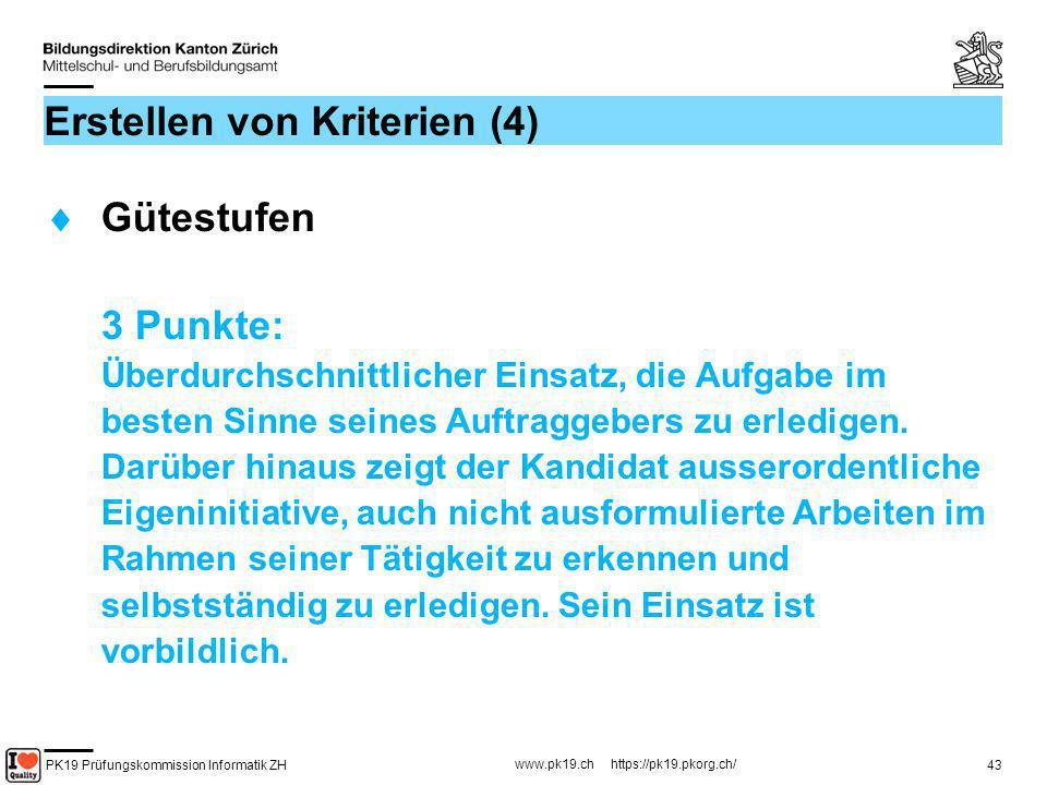 PK19 Prüfungskommission Informatik ZH www.pk19.ch https://pk19.pkorg.ch/ 43 Erstellen von Kriterien (4) Gütestufen 3 Punkte: Überdurchschnittlicher Ei