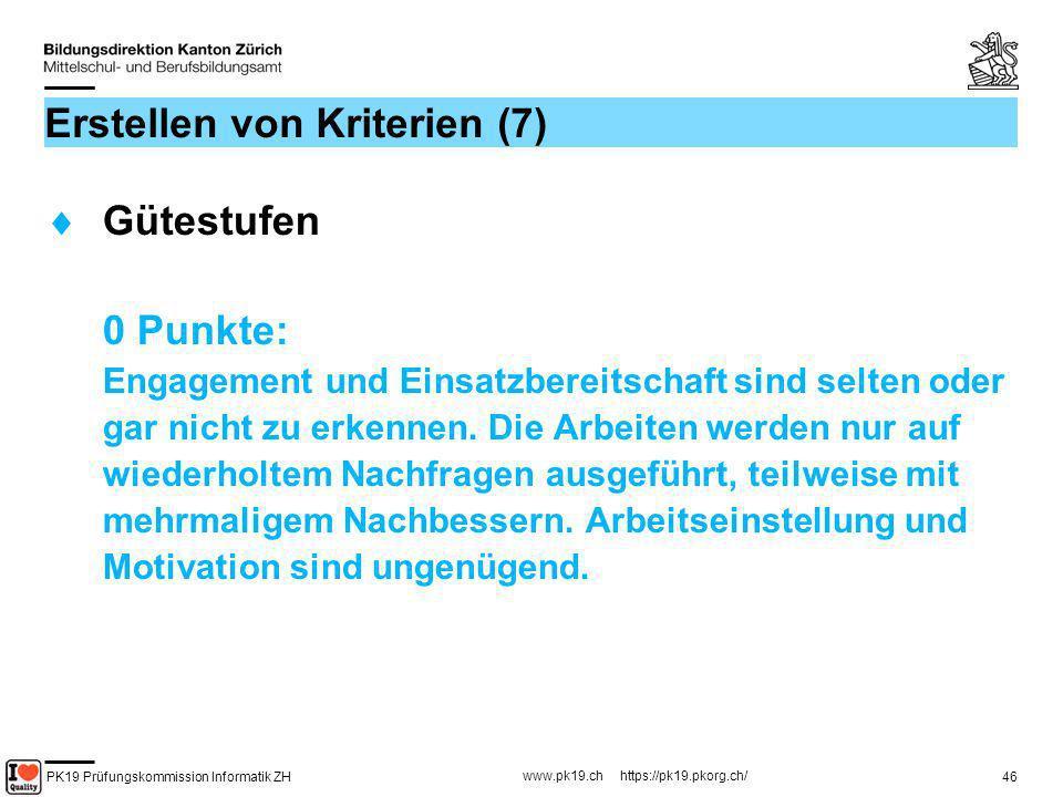 PK19 Prüfungskommission Informatik ZH www.pk19.ch https://pk19.pkorg.ch/ 46 Erstellen von Kriterien (7) Gütestufen 0 Punkte: Engagement und Einsatzber