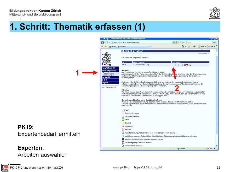 PK19 Prüfungskommission Informatik ZH www.pk19.ch https://pk19.pkorg.ch/ 52 1. Schritt: Thematik erfassen (1) 1 2 PK19: Expertenbedarf ermitteln Exper