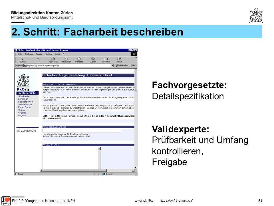 PK19 Prüfungskommission Informatik ZH www.pk19.ch https://pk19.pkorg.ch/ 54 2. Schritt: Facharbeit beschreiben Fachvorgesetzte: Detailspezifikation Va