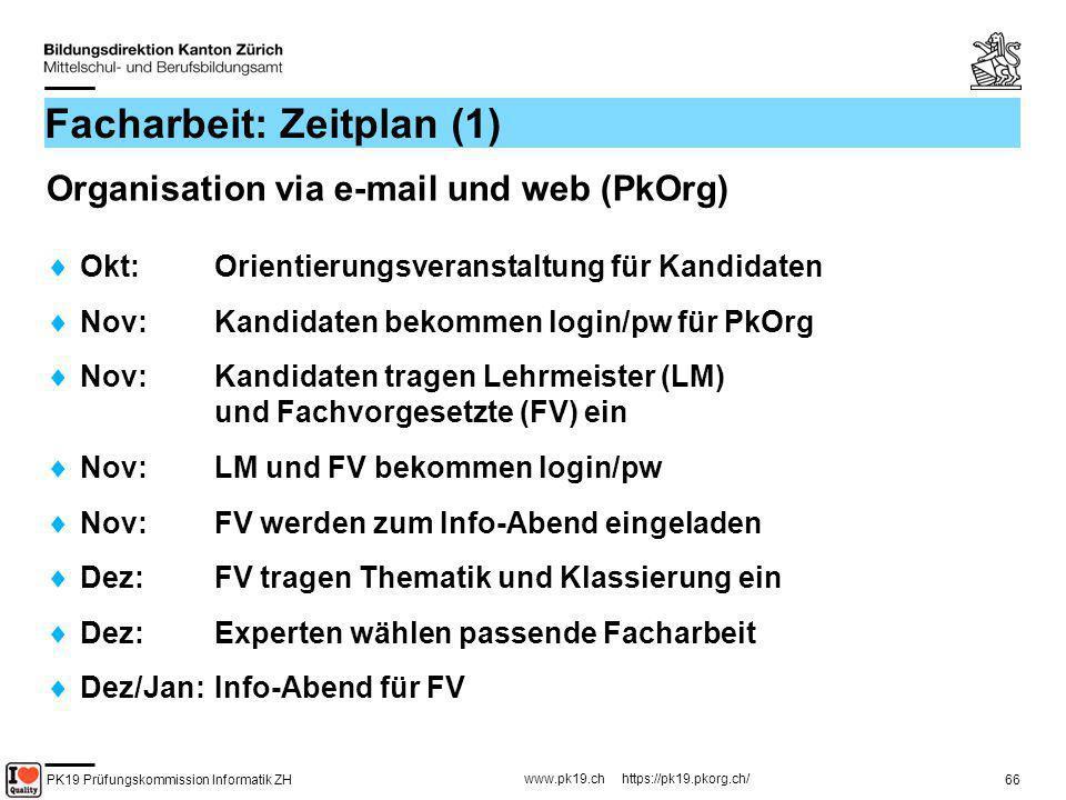 PK19 Prüfungskommission Informatik ZH www.pk19.ch https://pk19.pkorg.ch/ 66 Facharbeit: Zeitplan (1) Organisation via e-mail und web (PkOrg) Okt: Orie