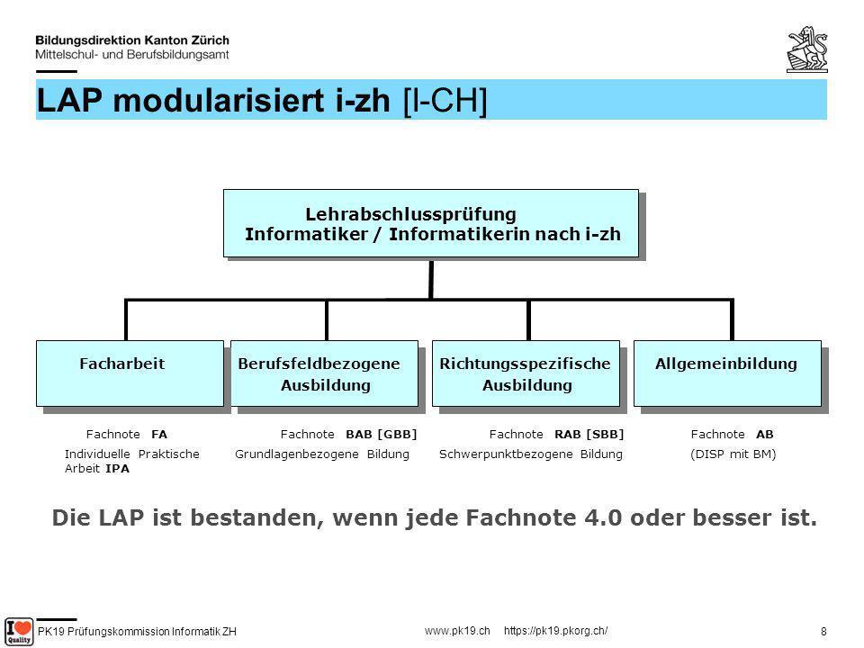PK19 Prüfungskommission Informatik ZH www.pk19.ch https://pk19.pkorg.ch/ 8 LAP modularisiert i-zh [I-CH] FachnoteBAB [GBB] Lehrabschlussprüfung Inform
