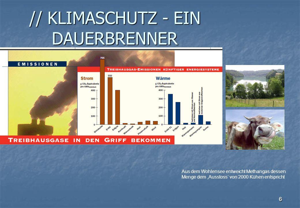 6 // KLIMASCHUTZ - EIN DAUERBRENNER Aus dem Wohlensee entweicht Methangas dessen Menge dem Ausstoss von 2000 Kühen entspricht