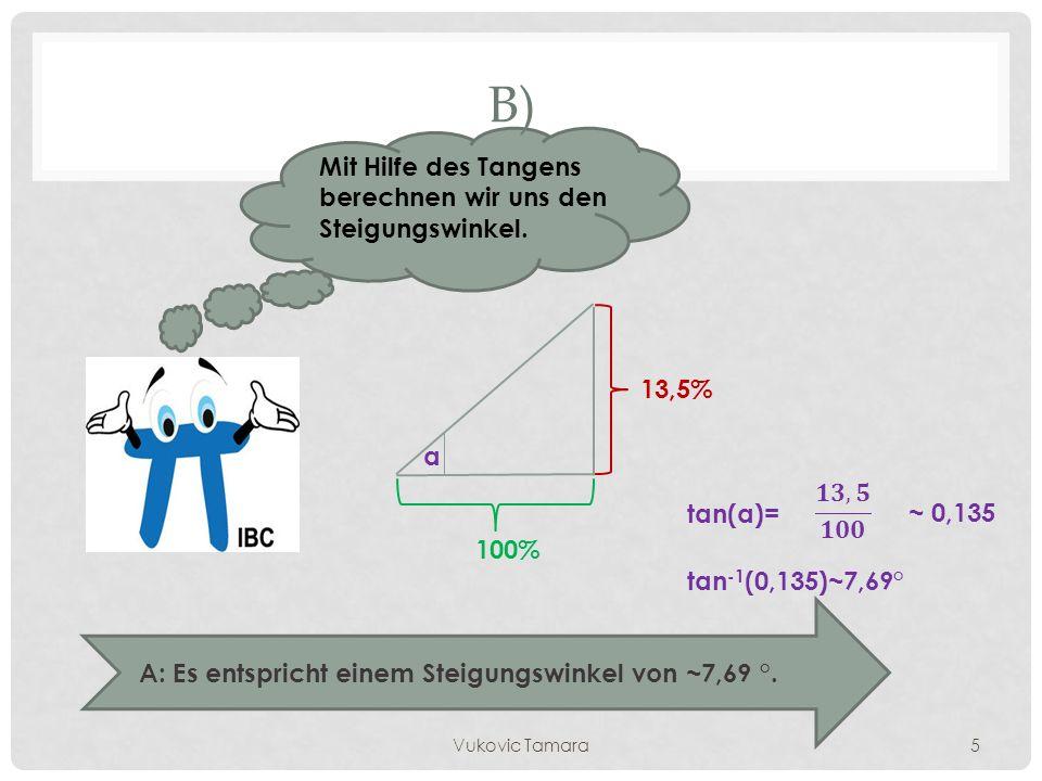 B) Mit Hilfe des Tangens berechnen wir uns den Steigungswinkel.