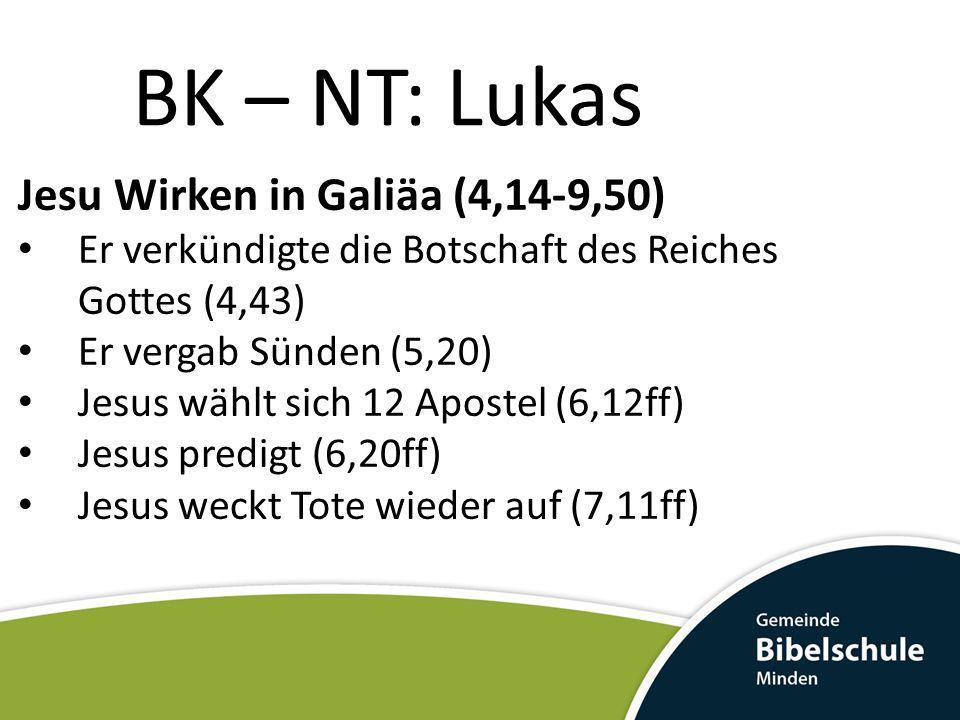 BK – NT: Lukas Jesu Wirken in Galiäa (4,14-9,50) Er verkündigte die Botschaft des Reiches Gottes (4,43) Er vergab Sünden (5,20) Jesus wählt sich 12 Ap