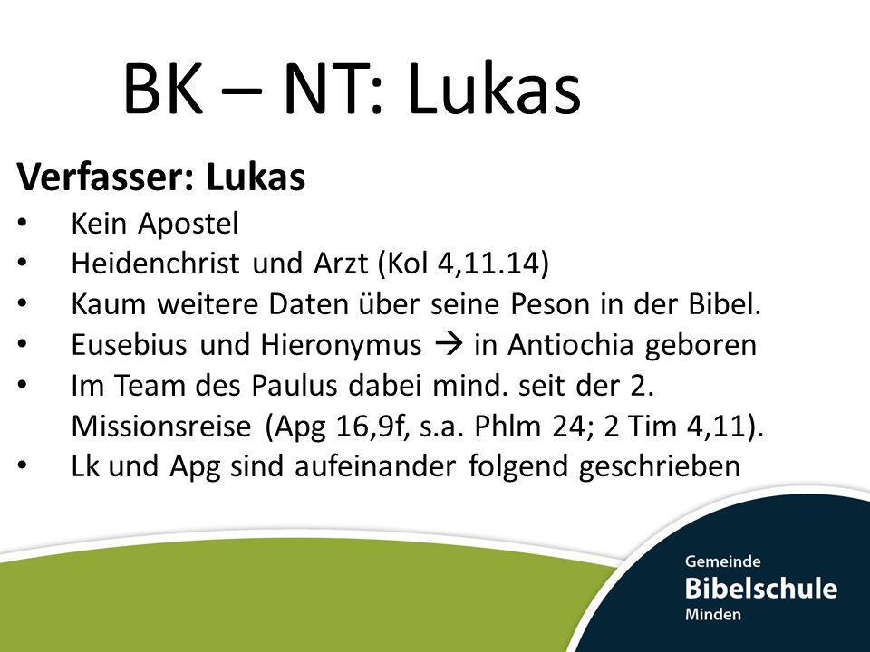 BK – NT: Lukas Verfasser: Lukas Kein Apostel Heidenchrist und Arzt (Kol 4,11.14) Kaum weitere Daten über seine Peson in der Bibel. Eusebius und Hieron