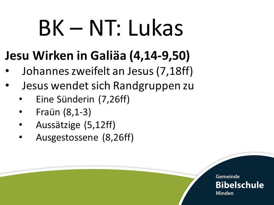 BK – NT: Lukas Jesu Wirken in Galiäa (4,14-9,50) Johannes zweifelt an Jesus (7,18ff) Jesus wendet sich Randgruppen zu Eine Sünderin (7,26ff) Fraün (8,