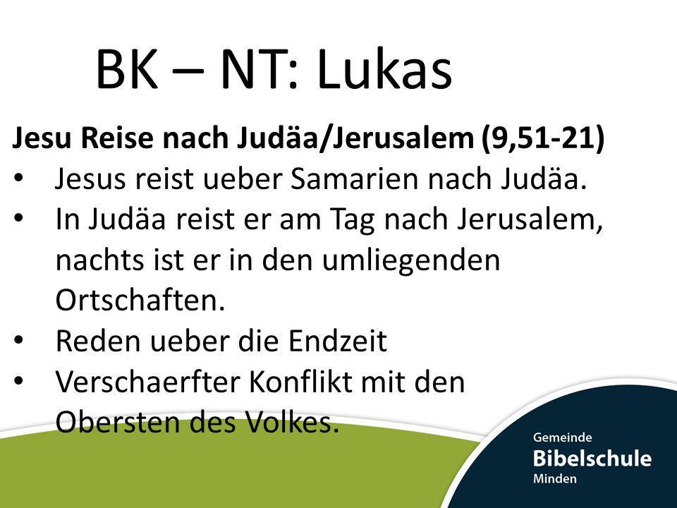 BK – NT: Lukas Jesu Reise nach Judäa/Jerusalem (9,51-21) Jesus reist ueber Samarien nach Judäa. In Judäa reist er am Tag nach Jerusalem, nachts ist er