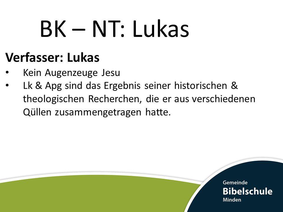 BK – NT: Lukas Verfasser: Lukas Kein Augenzeuge Jesu Lk & Apg sind das Ergebnis seiner historischen & theologischen Recherchen, die er aus verschieden