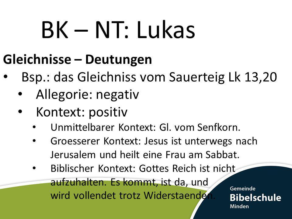 BK – NT: Lukas Gleichnisse – Deutungen Bsp.: das Gleichniss vom Sauerteig Lk 13,20 Allegorie: negativ Kontext: positiv Unmittelbarer Kontext: Gl. vom