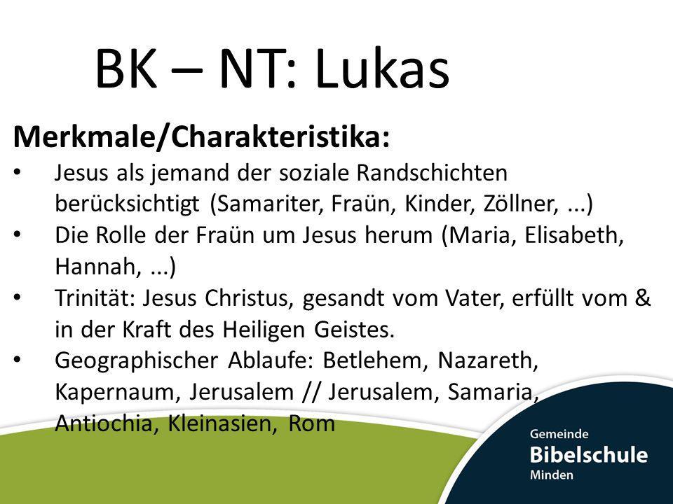 BK – NT: Lukas Jesu Wirken in Galiäa (4,14-9,50) Er verkündigte die Botschaft des Reiches Gottes (4,43) Er vergab Sünden (5,20) Jesus wählt sich 12 Apostel (6,12ff) Jesus predigt (6,20ff) Jesus weckt Tote wieder auf (7,11ff)