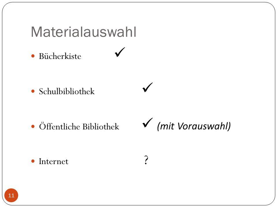 Materialauswahl Bücherkiste Schulbibliothek Öffentliche Bibliothek (mit Vorauswahl) Internet ? 11