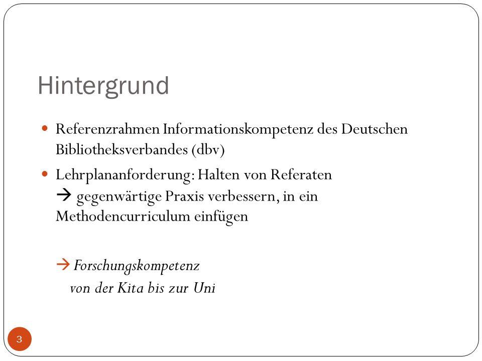 Hintergrund 3 Referenzrahmen Informationskompetenz des Deutschen Bibliotheksverbandes (dbv) Lehrplananforderung: Halten von Referaten gegenwärtige Praxis verbessern, in ein Methodencurriculum einfügen Forschungskompetenz von der Kita bis zur Uni