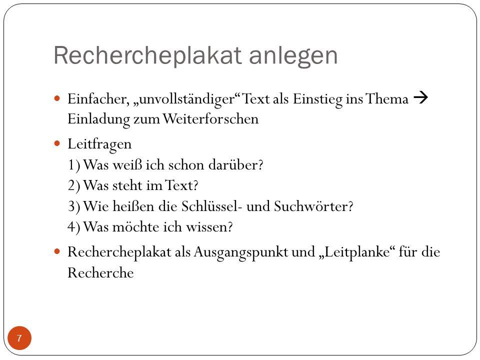 Rechercheplakat anlegen Einfacher, unvollständiger Text als Einstieg ins Thema Einladung zum Weiterforschen Leitfragen 1) Was weiß ich schon darüber?