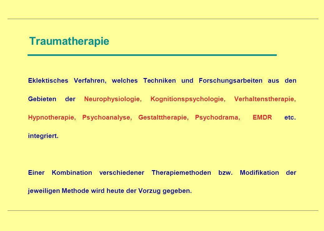 Traumatherapie Eklektisches Verfahren, welches Techniken und Forschungsarbeiten aus den Gebieten der Neurophysiologie, Kognitionspsychologie, Verhalte