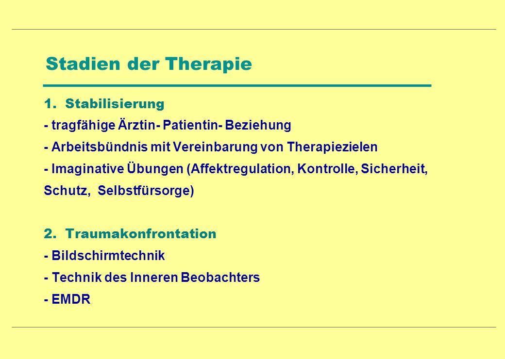 Stadien der Therapie 1. Stabilisierung - tragfähige Ärztin- Patientin- Beziehung - Arbeitsbündnis mit Vereinbarung von Therapiezielen - Imaginative Üb