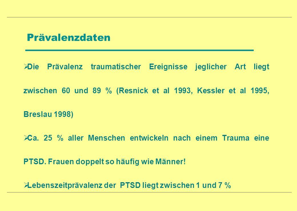 Prävalenzdaten Die Prävalenz traumatischer Ereignisse jeglicher Art liegt zwischen 60 und 89 % (Resnick et al 1993, Kessler et al 1995, Breslau 1998)
