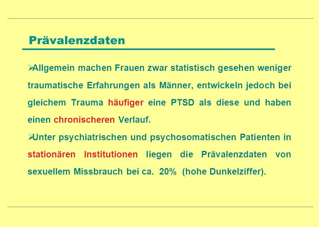 Prävalenzdaten Allgemein machen Frauen zwar statistisch gesehen weniger traumatische Erfahrungen als Männer, entwickeln jedoch bei gleichem Trauma häu