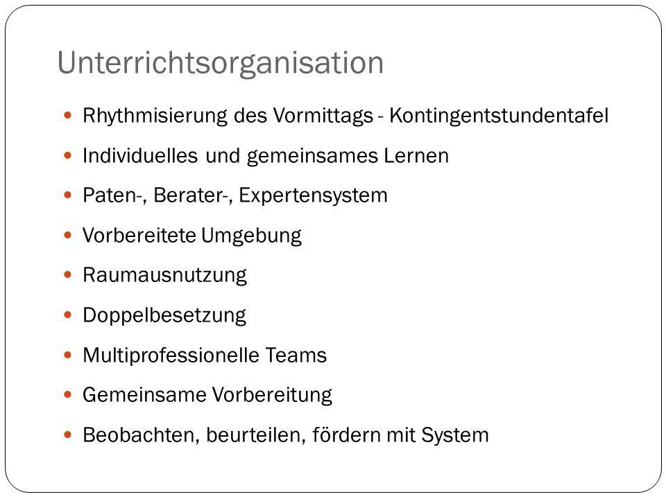 Unterrichtsorganisation Rhythmisierung des Vormittags - Kontingentstundentafel Individuelles und gemeinsames Lernen Paten-, Berater-, Expertensystem V