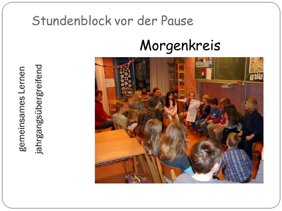 Stundenblock vor der Pause Morgenkreis gemeinsames Lernen jahrgangsübergreifend