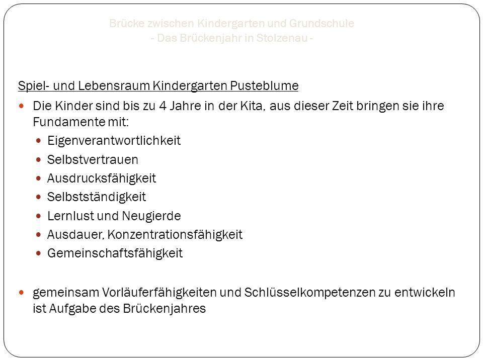 Brücke zwischen Kindergarten und Grundschule - Das Brückenjahr in Stolzenau - Unsere Motivation: Übergänge mit wenig Reibungsverlust Wunsch nach Vernetzung Gewinn für alle beteiligten Institutionen Veränderung der Kinder- und Familienwelten