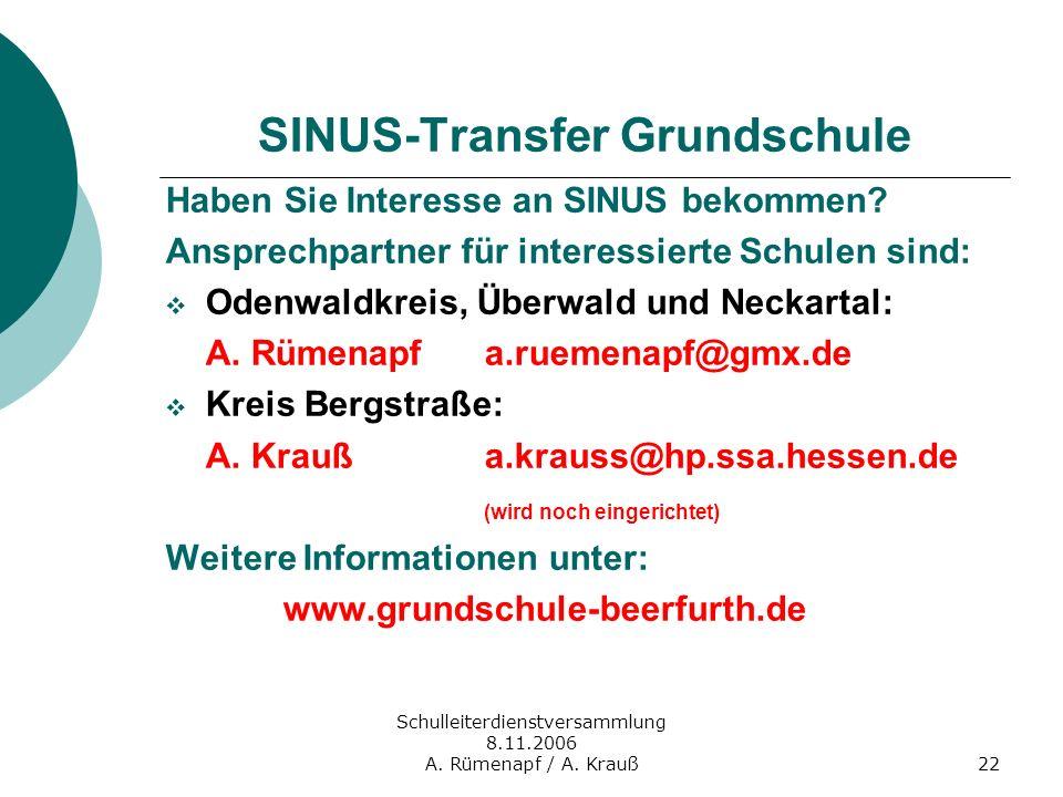 Schulleiterdienstversammlung 8.11.2006 A. Rümenapf / A. Krauß22 SINUS-Transfer Grundschule Haben Sie Interesse an SINUS bekommen? Ansprechpartner für