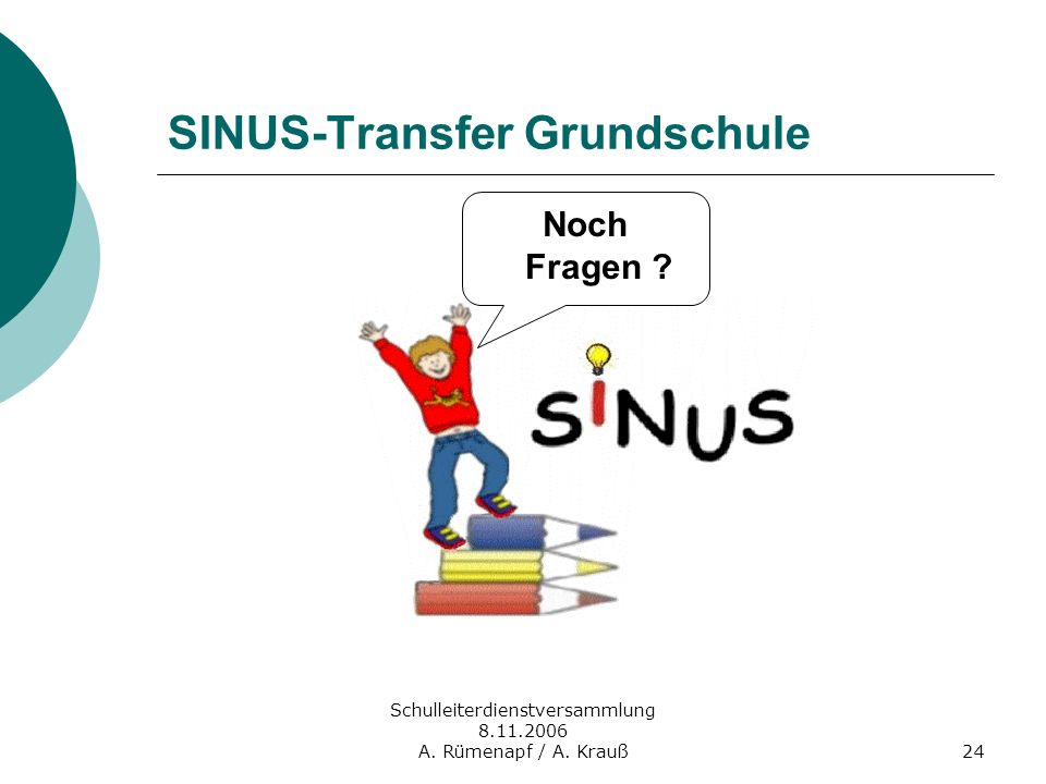 Schulleiterdienstversammlung 8.11.2006 A. Rümenapf / A. Krauß24 Noch Fragen ? SINUS-Transfer Grundschule