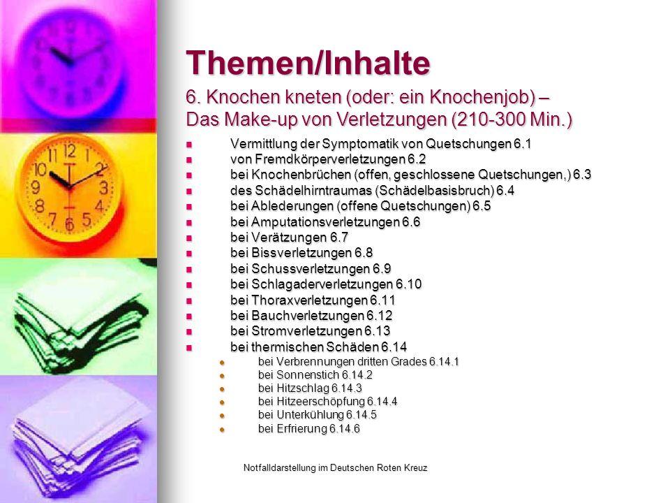 Notfalldarstellung im Deutschen Roten Kreuz Themen/Inhalte Vermittlung der Symptomatik von Quetschungen 6.1 Vermittlung der Symptomatik von Quetschungen 6.1 von Fremdkörperverletzungen 6.2 von Fremdkörperverletzungen 6.2 bei Knochenbrüchen (offen, geschlossene Quetschungen,) 6.3 bei Knochenbrüchen (offen, geschlossene Quetschungen,) 6.3 des Schädelhirntraumas (Schädelbasisbruch) 6.4 des Schädelhirntraumas (Schädelbasisbruch) 6.4 bei Ablederungen (offene Quetschungen) 6.5 bei Ablederungen (offene Quetschungen) 6.5 bei Amputationsverletzungen 6.6 bei Amputationsverletzungen 6.6 bei Verätzungen 6.7 bei Verätzungen 6.7 bei Bissverletzungen 6.8 bei Bissverletzungen 6.8 bei Schussverletzungen 6.9 bei Schussverletzungen 6.9 bei Schlagaderverletzungen 6.10 bei Schlagaderverletzungen 6.10 bei Thoraxverletzungen 6.11 bei Thoraxverletzungen 6.11 bei Bauchverletzungen 6.12 bei Bauchverletzungen 6.12 bei Stromverletzungen 6.13 bei Stromverletzungen 6.13 bei thermischen Schäden 6.14 bei thermischen Schäden 6.14 bei Verbrennungen dritten Grades 6.14.1 bei Verbrennungen dritten Grades 6.14.1 bei Sonnenstich 6.14.2 bei Sonnenstich 6.14.2 bei Hitzschlag 6.14.3 bei Hitzschlag 6.14.3 bei Hitzeerschöpfung 6.14.4 bei Hitzeerschöpfung 6.14.4 bei Unterkühlung 6.14.5 bei Unterkühlung 6.14.5 bei Erfrierung 6.14.6 bei Erfrierung 6.14.6 6.
