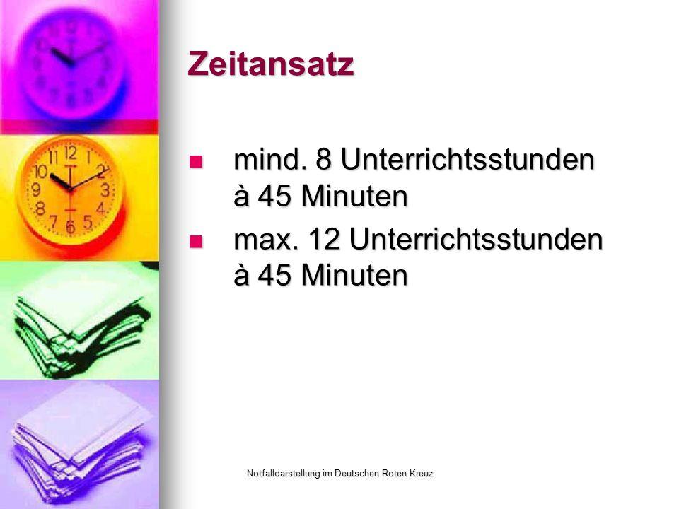Notfalldarstellung im Deutschen Roten Kreuz Zeitansatz mind.