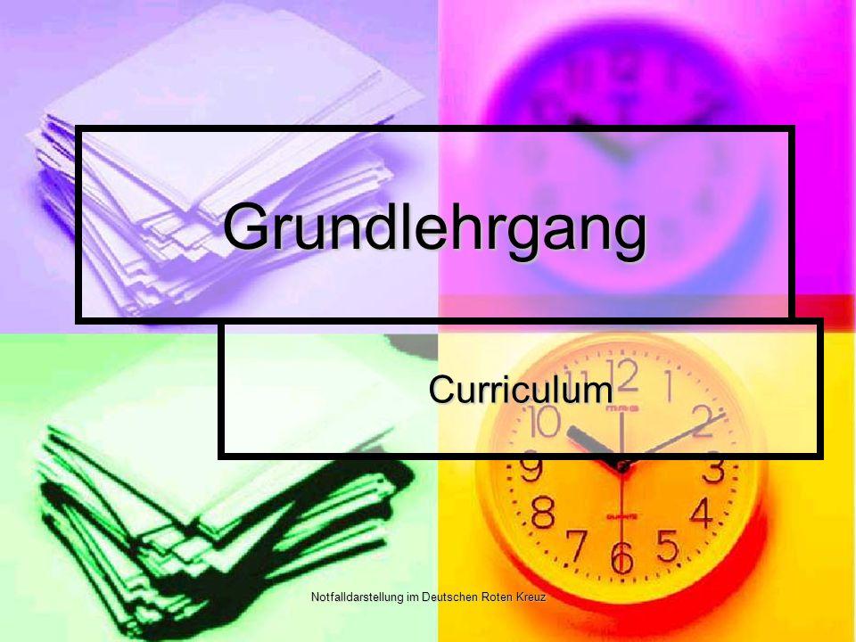 Notfalldarstellung im Deutschen Roten Kreuz Grundlehrgang Curriculum