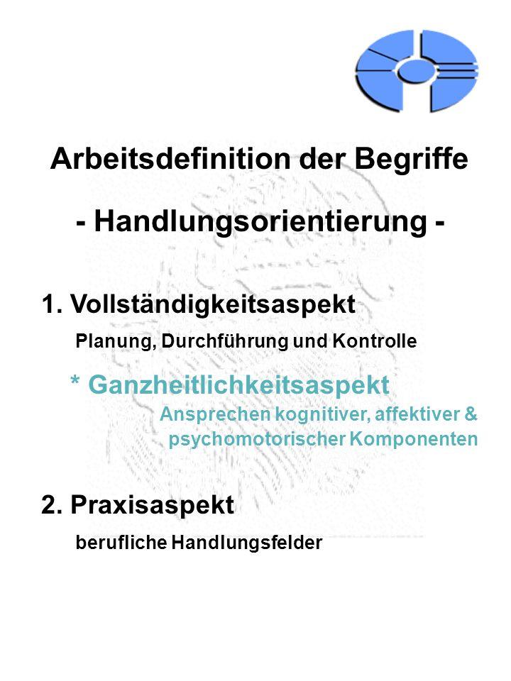 Arbeitsdefinition der Begriffe - Handlungsorientierung - 1. Vollständigkeitsaspekt Planung, Durchführung und Kontrolle * Ganzheitlichkeitsaspekt Anspr