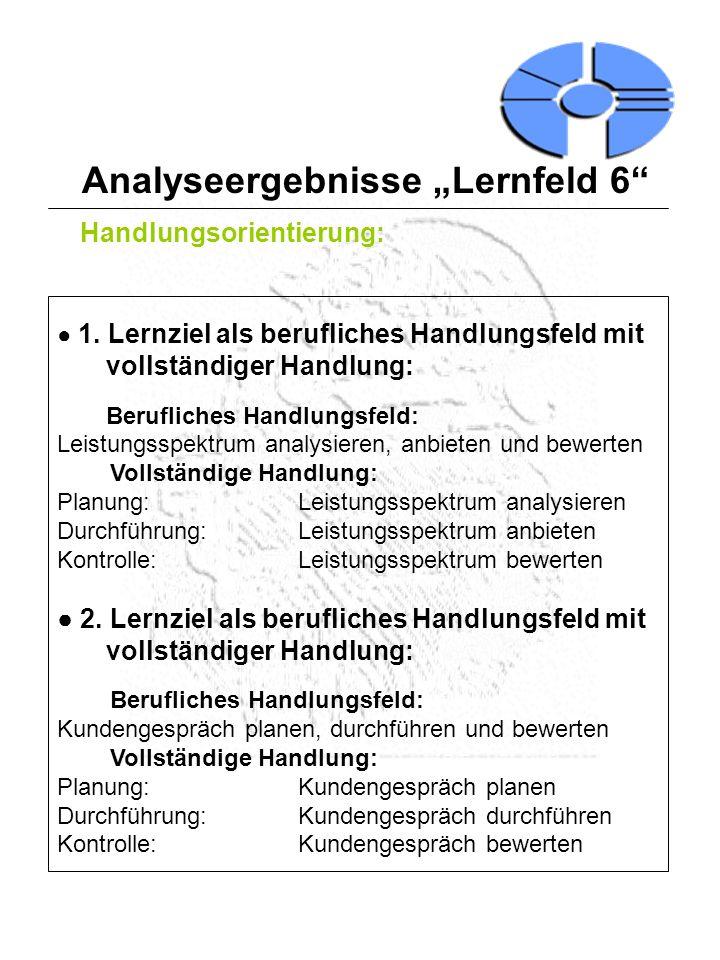 Analyseergebnisse Lernfeld 6 Handlungsorientierung: 3.