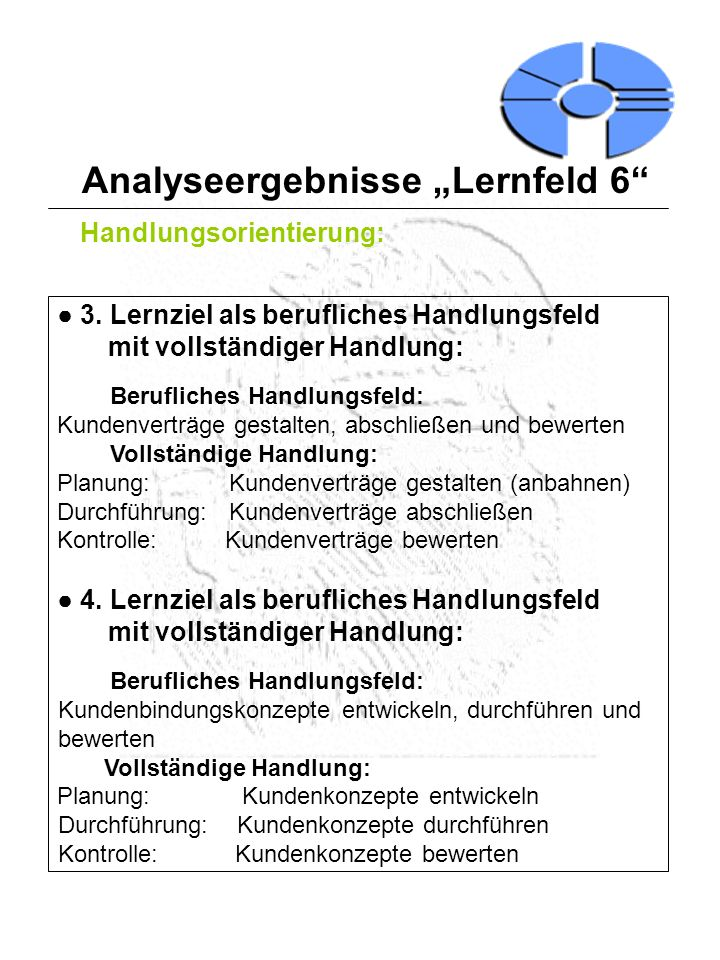Analyseergebnisse Lernfeld 6 Handlungsorientierung: 3. Lernziel als berufliches Handlungsfeld mit vollständiger Handlung: Berufliches Handlungsfeld: K