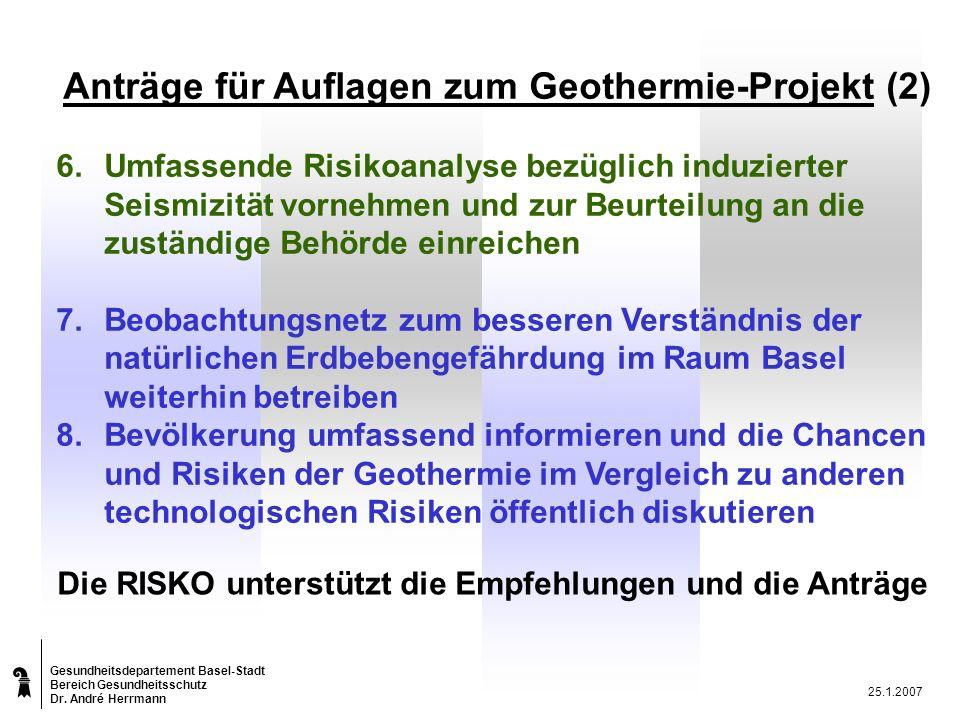 Gesundheitsdepartement Basel-Stadt Bereich Gesundheitsschutz Dr.