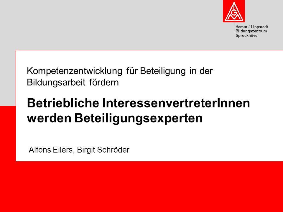 Hamm / Lippstadt Bildungszentrum Sprockhövel Kompetenzentwicklung für Beteiligung in der Bildungsarbeit fördern Betriebliche InteressenvertreterInnen