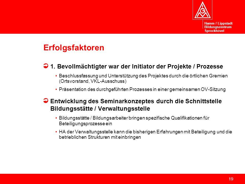 19 Erfolgsfaktoren 1. Bevollmächtigter war der Initiator der Projekte / Prozesse Beschlussfassung und Unterstützung des Projektes durch die örtlichen