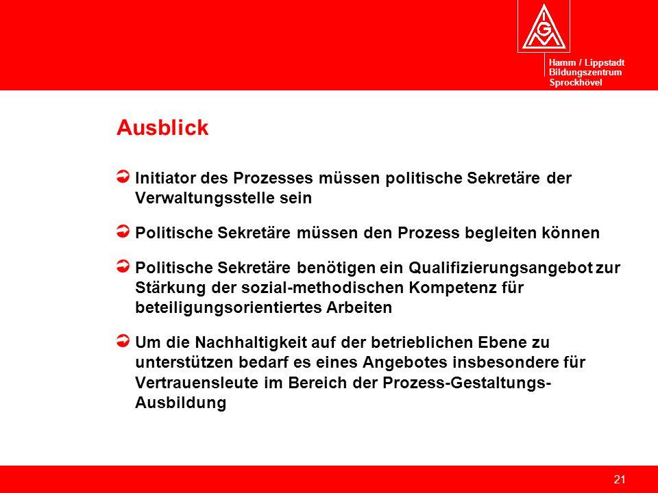 21 Ausblick Initiator des Prozesses müssen politische Sekretäre der Verwaltungsstelle sein Politische Sekretäre müssen den Prozess begleiten können Po