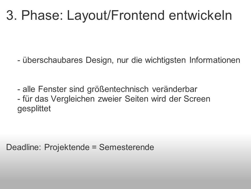 3. Phase: Layout/Frontend entwickeln - überschaubares Design, nur die wichtigsten Informationen - alle Fenster sind größentechnisch veränderbar - für