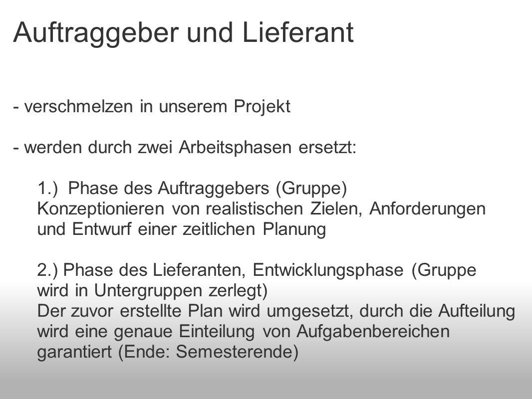Auftraggeber und Lieferant - verschmelzen in unserem Projekt - werden durch zwei Arbeitsphasen ersetzt: 1.) Phase des Auftraggebers (Gruppe) Konzeptio